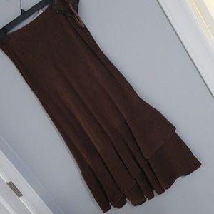 Brown corduroy side zipped skirt, size 10